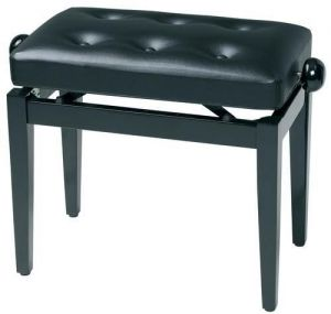 GEWA  Piano bench black high gloss with leather